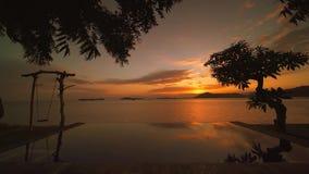 日落异乎寻常的风景从手段水池的 影视素材