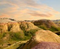 日落恶地国家公园南达科他 图库摄影