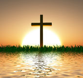 日落或日出与十字架 库存照片