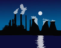 日落或日出在城市 橙色光 管子烟 核电站,供暖设备 向量 免版税库存照片