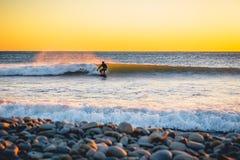日落或日出的冲浪者 冬天冷冲浪在保温潜水服 免版税库存图片