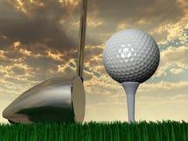 日落或日出高尔夫球 库存图片