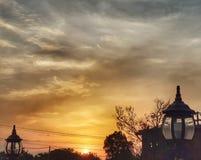 日落时间在老挝 库存照片