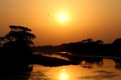 日落是在末端一切行是的证明 免版税库存照片