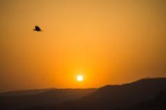 日落晒黑淡桔色的颜色山 免版税库存照片