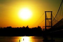 日落桥梁 库存照片