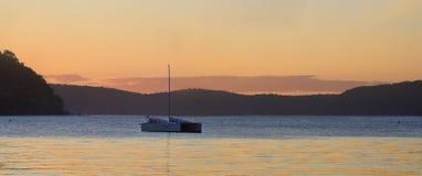 日落棕榈滩,悉尼澳大利亚 免版税库存图片