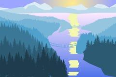 日落森林河和小山 免版税图库摄影