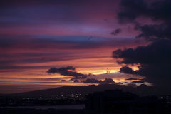 日落檀香山港口 免版税图库摄影