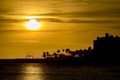 日落沿海都市场面,蒙得维的亚,乌拉圭 库存图片