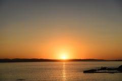 日落海反射 库存照片
