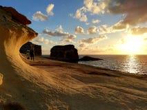 日落海岛戈佐岛 库存照片