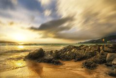 日落海景天空海滩patong普吉岛 库存图片
