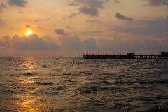 日落海海滩 免版税库存图片
