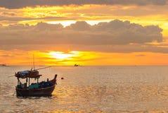 日落海滩,轰隆Phra 库存照片
