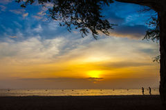 日落海滩和树和人们 免版税库存照片