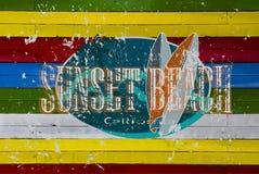 日落海滩商标 库存图片