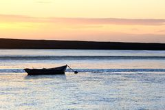 日落海滩多西特 免版税库存照片