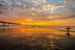 日落海洋海滩 免版税库存照片