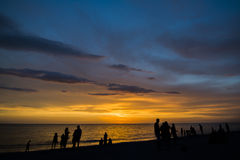 日落海滩 免版税库存照片