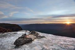 日落温特沃思秋天蓝山山脉澳大利亚 库存照片