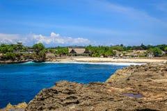 日落点,努沙Lembongan,印度尼西亚看法  库存图片