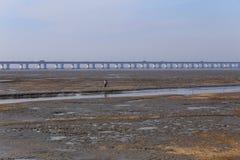 日落焕发,世界的最长的桥梁有车在交通 图库摄影