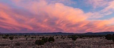 日落照亮在沙漠风景的打旋的剧烈的云彩 库存图片