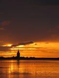 日落的万格罗格教会,德国 库存图片