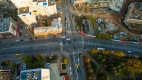 日落的乌法市在中心 鸟瞰图 免版税库存照片