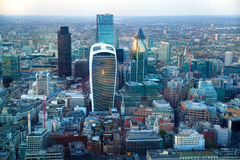 日落的伦敦市全景 图库摄影