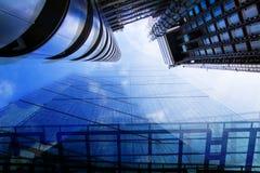 日落的伦敦市 多重曝光图象包括伦敦市财政唱腔 英国伦敦 免版税图库摄影
