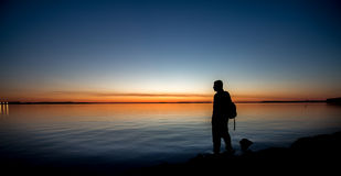 日落的全景照片 图库摄影