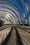日落的剧烈,现代拱道在多科技大学的佛罗里达 免版税库存照片