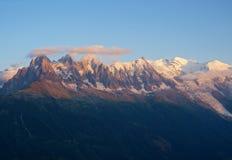 日落的勃朗峰 库存照片