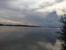日落的反射在海洋在佛罗里达群岛 免版税库存图片