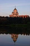 日落的图片教会 免版税图库摄影