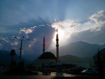 日落的土耳其清真寺 免版税库存图片