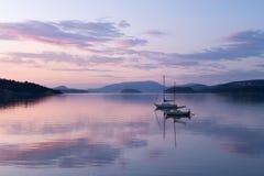 日落的圣胡安海岛 免版税库存照片