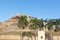 日落的圣费利佩de巴拉哈斯堡垒在卡塔赫钠,哥伦比亚 库存照片