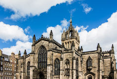 日落的圣Giles的大教堂,爱丁堡,苏格兰 库存照片