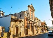 日落的基耶萨di圣诞老人露西娅教会 加拉蒂纳,普利亚,意大利 免版税库存照片