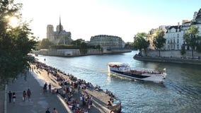 日落的塞纳河,巴黎 影视素材