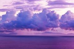 日落的塞舌尔群岛 库存照片