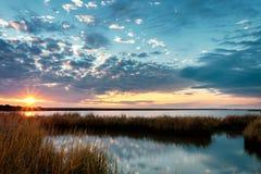 日落的多沼泽的支流 库存图片