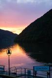 日落的多瑙河 免版税库存照片