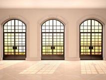 日落的大被成拱形的窗口视图的例证 免版税库存图片