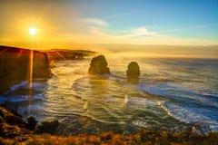 日落的大洋路:吉布森步 免版税库存照片