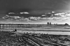 日落的孤立冲浪者在黑白 库存图片
