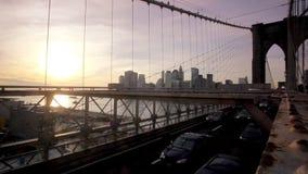 日落的布鲁克林大桥 股票录像